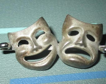 Vintage Sterling Silver Comedy Tragedy Mask Theater Pin