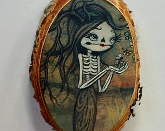 Skeleton Sugar skull girl Tree Ornament Wooden Handmade Tree Decoration Butterfly