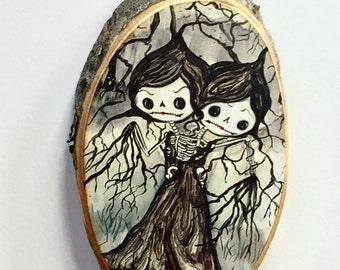 Skeleton Sugar skull girl sisters Tree Ornament Wooden Handmade Decoration maple wood