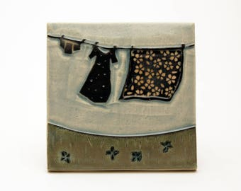 Clothesline- 4x4 ceramic tile- Ruchika Madan