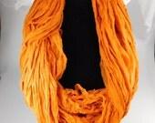 Sari Silk ribbon, Recycled Silk CHIFFON Sari Ribbon, Orange sari ribbon, weaving supply, knitting supply, crochet supply, tassel supply
