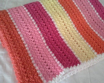 Crocheted baby toddler young girl pink, ornage, yellow white blanket afghan