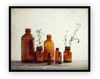 "Still life photography vintage bottles rustic kitchen wall art ""Apothecary"""