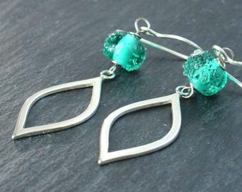 Long Dangle   Earrings   Sterling Silver  Green Lampwork  Earrings Unique Gifts For Her Glass Jewelry