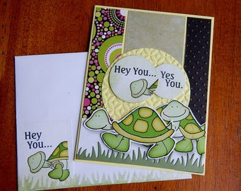 Handmade Thinking of You Card: turtle, duck, get well, green, yellow, complete card, handmade, balsampondsdesign