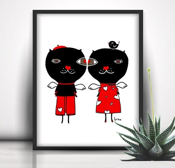 Cat Print, Printable Illustration, 8x10, Instant Download, Cat Poster, Cat Wall Art, Cat Illustration, Cat Lover Poster