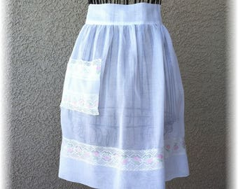 WHITE SHEER with PINK Accent - Half Apron