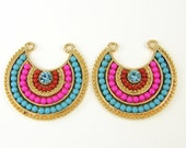 Colorful Crescent Pendant Colorful Boho Earring Findings U Shape Turquoise Hot Pink Gold Earring Connectors |B1-8|2