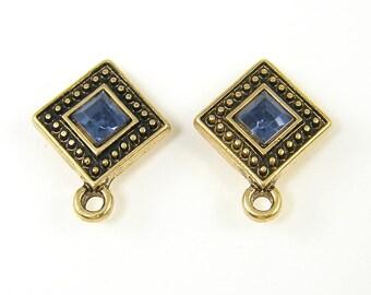 Blue Gold Earring Posts, Sapphire Blue Rhinestone Stud Earring Findings, Blue Gold Earring Posts with Loop |B11-9|2