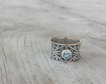Sterling JGD Janice Gerardi Wide Band Ring with Aquamarine Stone Size 9 Signed