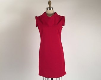 Alena Designs - Klara - Sheath Shift  Dress with Wing Sleeves and Cowl Neck Cotton Lycra - Red