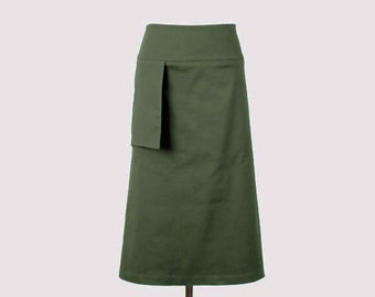 Alena Designs - Mona - Minimalist Boot Length A-line Skirt with Pocket Olive Pocket Lycra