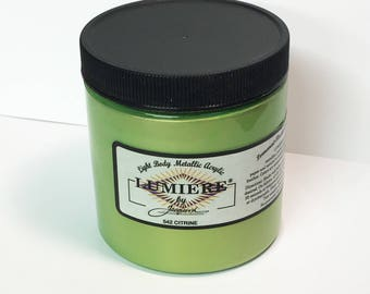 Lumiere Citrine 542 - 8 oz Size - Brilliant Light Body Metallic Acrylic Paint - Art Craft Fabric Canvas Wood Paper Pearl Green Yellow Lime