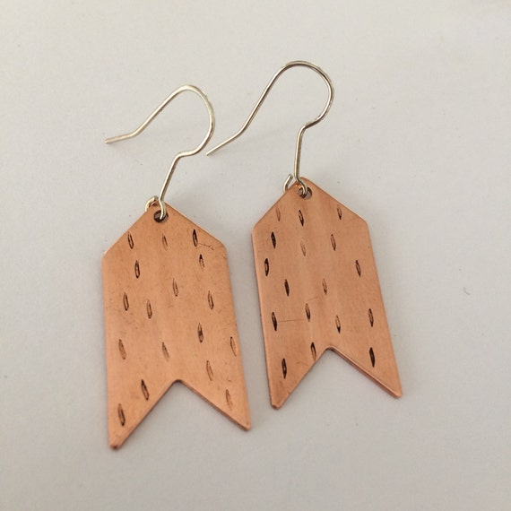 Copper Chevron Dash Earrings - Punched - Hipster - Festival - Geometric