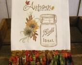 Autumn Fall Kitchen dish towel Rustic Farmhouse cotton  Tattered ruffles ECS RDT FVGTEAM