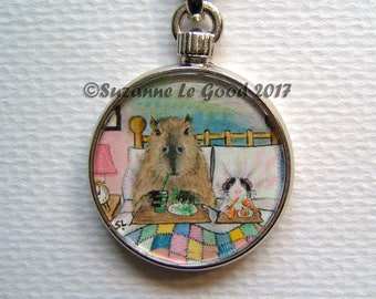 GUINEA PIG and CAPYBARA Keyring/handbag charm with print from original painting by Suzanne Le Good