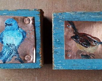 Pair of birds on copper and wood