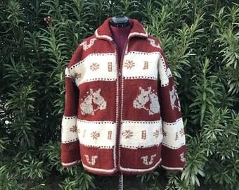Vintage Horse Cardigan Equestrian 60s Buffalo Import Cowichan Sweater Sz L