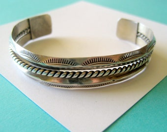 Navajo Sterling Silver Stamped Coil Cuff