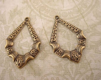 4 brass ox open Art Nouveau  Victorian embossed swiggles  hoop charms 27mm