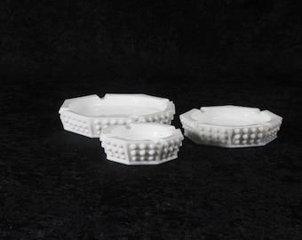 White Fenton Milk Glass ash tray 3 piece collection