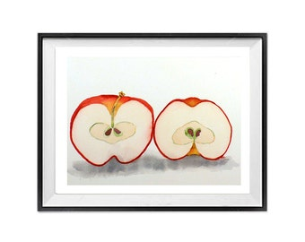 Fresh Art Prints Crisp Apple Painting Print of a Watercolor Painting fruit art nature prints farmhouse  country chick Red and White
