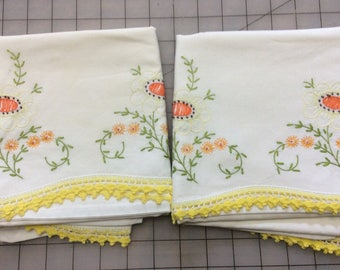 Hand Embroidered Cotton Pillowcases with Crocheted Edging