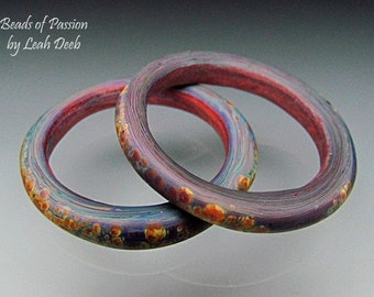 Handmade Glass Ring Beads of Passion Leah Deeb - Organic Focal Slider Set - Xtra Lg