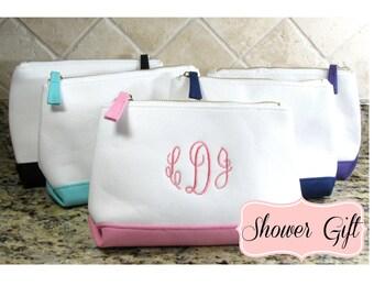 Monogram Cosmetic Case  Monogram Makeup Bag Personalized Cosmetic Makeup Bag Canvas Cosmetic Bag Bridesmaid Gift Teacher Appreciation Gift