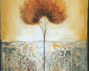 Lone tree painting 10 x 20 inch original textured art made to order Lauren Marems