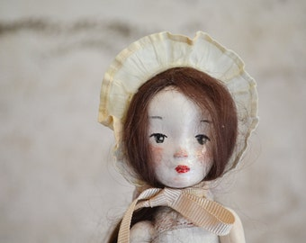 Bonnet Art Doll, Ceramic art doll-2016, Art doll by Paola Zakimi