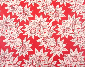 Vintage Christmas Wrapping Paper or Gift Wrap with Red and White Poinsettias