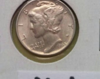 Silver Dime Coin Mercury Dimes , dated 1945 very good condition WWII 90% Silver precious metal  for Jeweler Artist Numismatic jewelry M-1