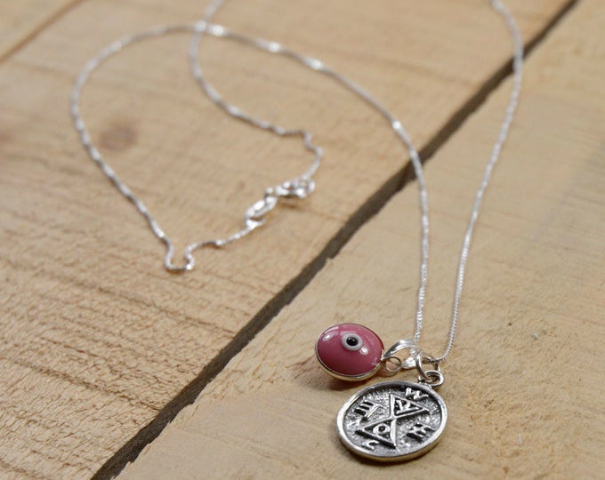 Match Making Solomon Seal & Evil Eye Charm Necklace in Silver and Pink Glass Eye