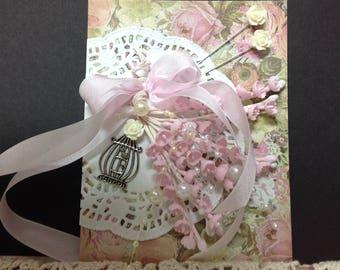 Beautiful Victorian Vintage Greeting Card, Vintage, Cottage Chic, Greeting Card, Glittered Card, Cottage Chic Card, Vintage Embellishments