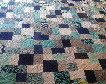 King size navy,turquoise,  gray and cream quilt