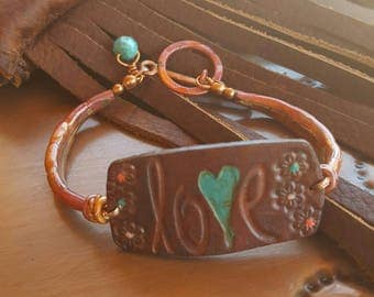 Copper Bracelet - Leather - LOVE - Hand Painted -  Turquoise - Cowgirl Jewelry - Rustic Jewelry by Heart of a Cowgirl