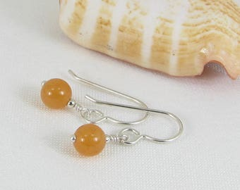 Peach Aventurine and Argentium Sterling Silver Earrings