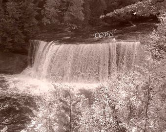 Tahquamenon Falls, Root Beer Falls, Paradise Michigan, Waterfall Decor, Water Fall Print, Sepia Style, Landscape Photo, Wall Decor Den Print