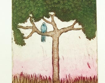 etching, a new Dawn, tree, dawn, printmaking, home interior, green, forest, woods, landscape, country decor