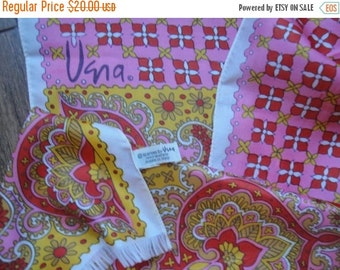 Ho Ho Holiday SALE Vintage Vera oblong acetate scarf, 68 by 14 inch oblong, Bright pink, orange, yellow, tan and white paisley and plaid, Ma