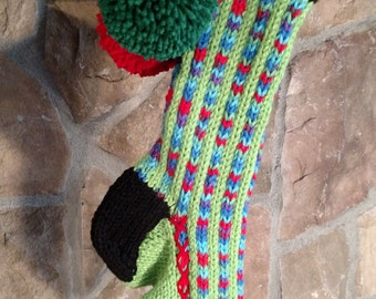 Old Fashioned Hand Knit Heartfelt Lime Green Stripe Christmas Stocking with Red Heart detail