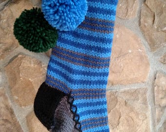 Old Fashioned Hand Knit Two tone Blue Horizontal Stripe Christmas Stocking with Wreath detail