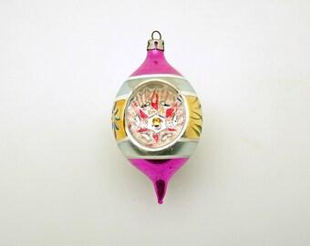 Vintage Christmas Ornament Glass Ornament Teardrop Indent