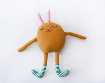 "Stuffed little Bunny with Striped Socks Cotton Monster ""Dale"""