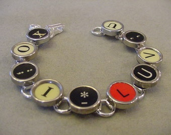 Typewriter Key Bracelet XO I LUV U Rare Red L XO I Love You Typewriter key jewelry Mothers Day Gift
