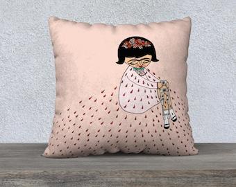 Pillow Case - Crying Frida - Frida Kahlo - Frida cest moi - illustration - pink - Velveteen