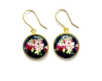 Pink and Black Rose Earrings, Gold and Black Earrings, Floral Earrings, Flower Earrings