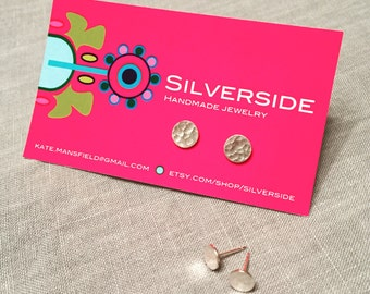 Medium hammered silver circle stud earrings