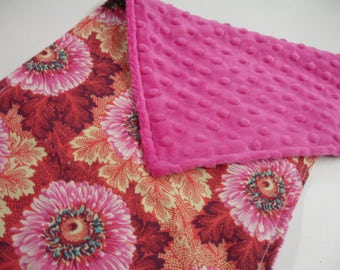 Sunflowers with Fuschia Minky Baby Burp Cloth 10 x 20 READY TO SHIP